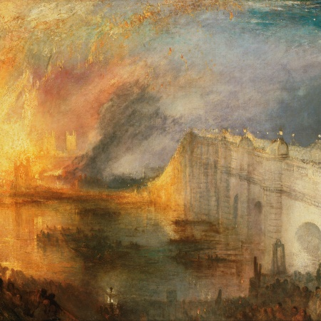 Painting representing burning archive